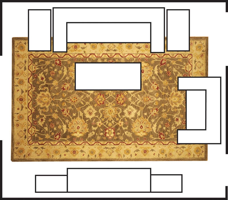 Sizing it up how to choose the right size rug the for Choosing a rug color